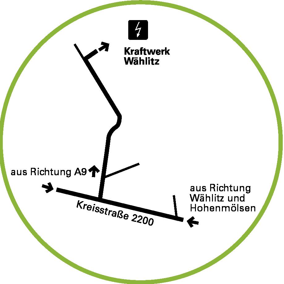 Anfahrtsskizze zum Industriekraftwerk Wählitz